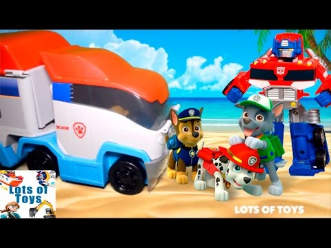 Pup Rescues and Advenutres!!! Play Doh Paw Patrol, Patroller, Transformers Rescue Bots, Minions
