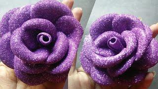 Glitter foam sheet flower making/Foam sheet rose/Beautiful Foam sheet flower making