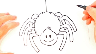 How to draw a Spider   Spider Easy Draw Tutorial