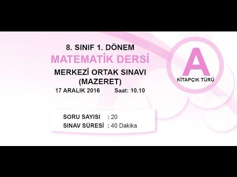 MEB TEOG MAZERET SINAVI - MATEMATİK - 17 ARALIK 2016