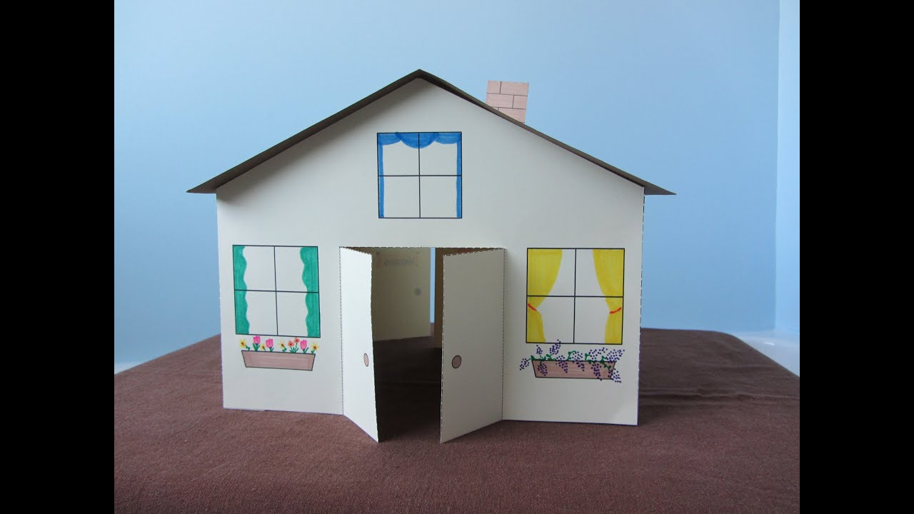 3d paper house children 39 s craft youtube for Building on to my house