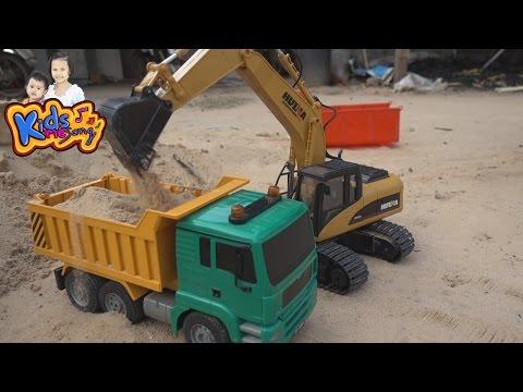 รถแม็คโคร รถดั้มบังคับ ก่อสร้าง ของเล่นเด็ก- Trucks RC and Diggers RC toy construction  for kids