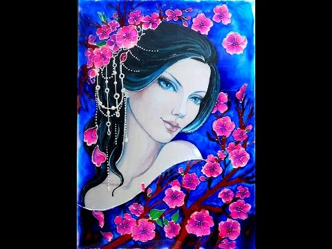 GLASS PAINTING OF A BEAUTIFUL LADY