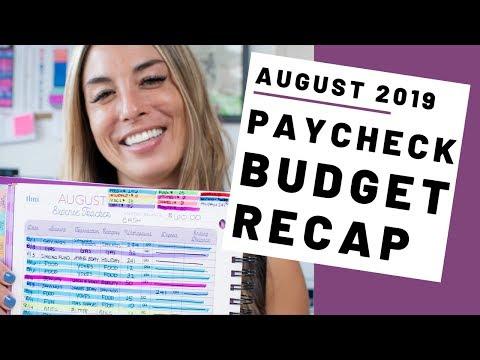 August 2019 Paycheck Budget Recap