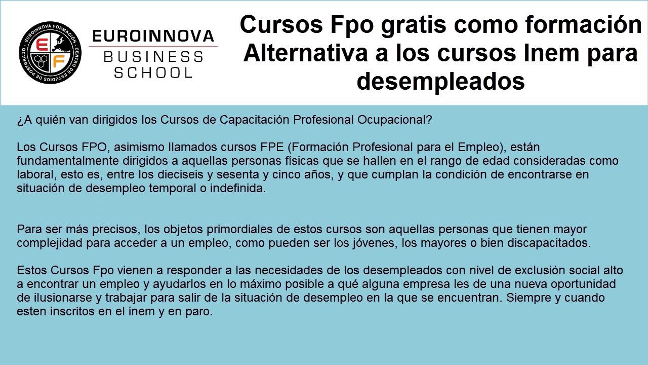 Cursos Fpo Web Oficial Euroinnova
