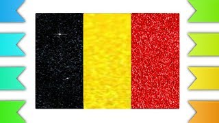 Belgium Flag Glitter Coloring Page | Flag Glitter Color | How to Draw Belgium Flag Glitter Color