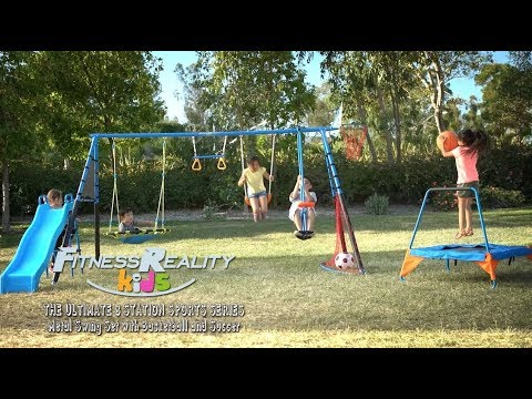 8476 Fitness Reality Kids The Ultimate 8 Station Sports Metal Swing Set With Basketball And Soccer