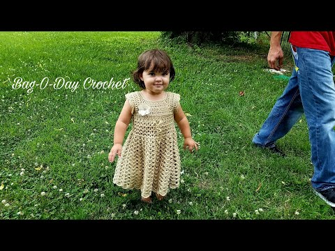 Learn How To #Crochet The Lil Gal On The Prairie Dress BABY DRESS Bag-O-Day CROCHET TUTORIAL #395