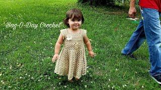 HOW TO #CROCHET A BABY DRESS | LIL GAL ON THE PRAIRIE | BAGODAY CROCHET TUTORIAL #395