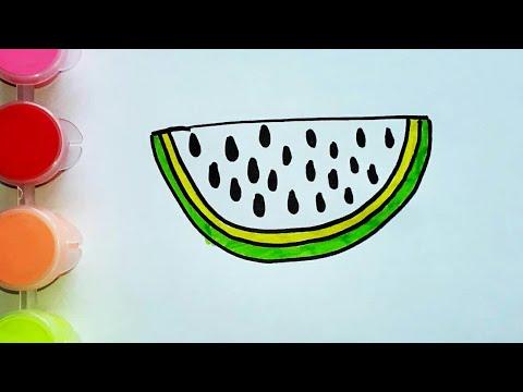 Раскраска арбуз для детей. Как нарисовать арбуз маркером ...