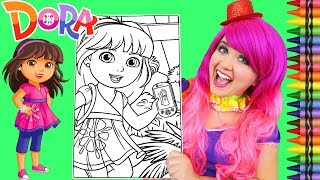Coloring Dora The Explorer Teenager GIANT Coloring Page Crayola Crayons | KiMMi THE CLOWN