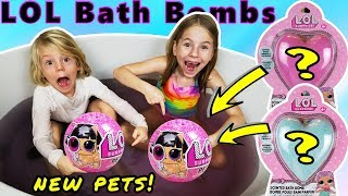 OMG LOL Surprise Series 4 Wave 2 PETS in our Bath! LOL Surprise Bath Bombs with Surprises inside!