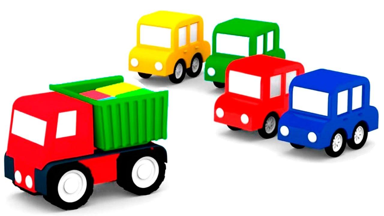 Мультики для детей: 4 машинки и чёрный автомобиль. Мультики про #машинки все серии подряд
