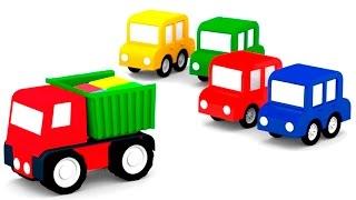 Мультики для детей: 4 машинки и чёрный автомобиль.