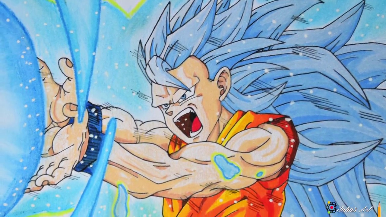 Speed Drawing Goku Super Saiyan Blue 3 Kamehameha - YouTube