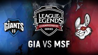GIA vs. MSF  - Week 4 Day 1 | EU LCS Spring Split |  Giants Gaming vs. Misfits Gaming (2018)