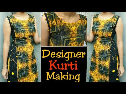 Latest ,trending  Kurti Cutting And Stitching  /with Potli Design And Side Dori