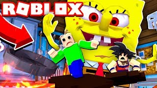 BALDI NEEDS TO ESCAPE FROM THE GIANT SPONGE BOB IN THE ROBLOX!!