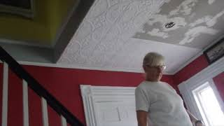 Faux tin ceiling installation