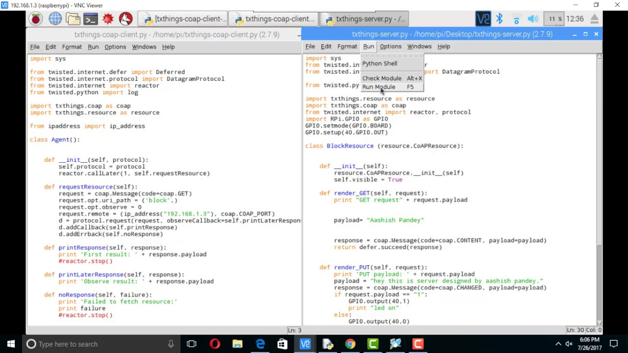 Implement CoAP IoT protocol using txthings python library on raspberry-pi