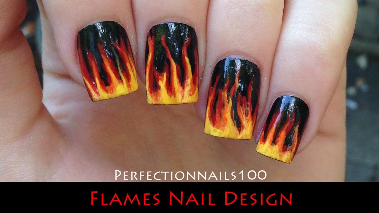 Nail Art Flames Design Tutorial