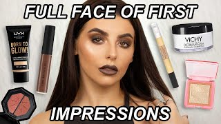 FULL FACE OF FIRST IMPRESSIONS / TESTING NEW MAKEUP! NYX, VICHY, MAXFACTOR, ESSENCE, JML + ZOEVA!