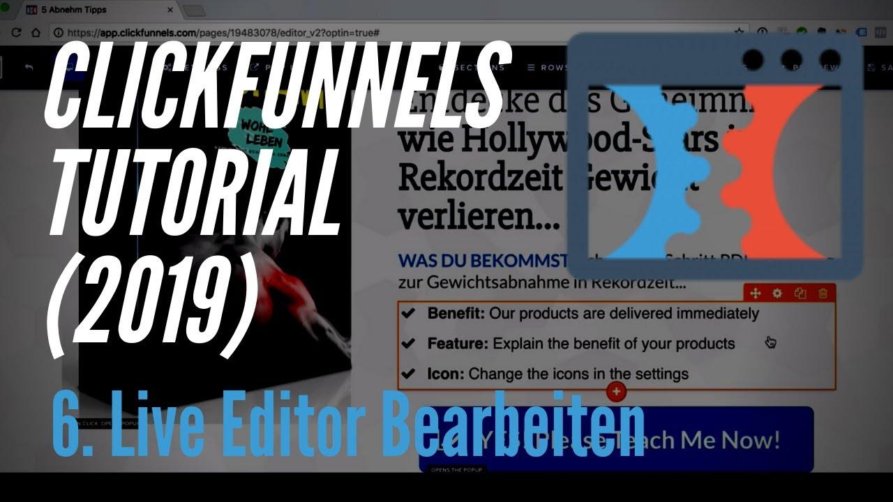Clickfunnels Tutorial deutsch (2019) - 6. Live Editor bearbeiten