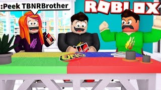 LITTLE SISTER CHEATS and TROLLS MY LITTLE BROTHER in ROBLOX UNO!