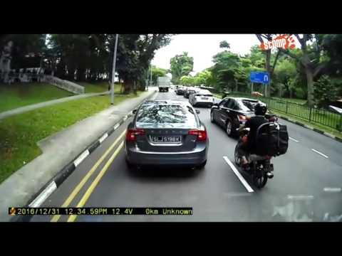 Watch how driver of Volvo SLJ5198K plays braking game along Sembawang Wellington Circle Road