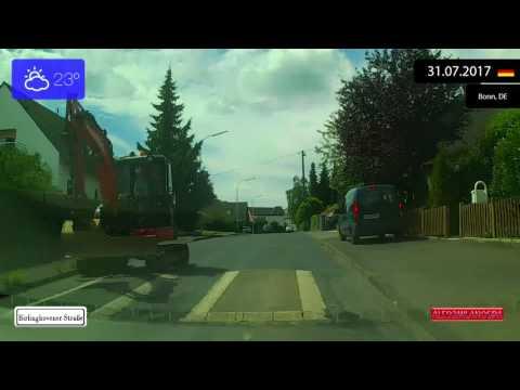 Driving through Nordrhein-Westfalen (Germany) from Sankt Augustin to Bonn 31.07.2017 Timelapse x4