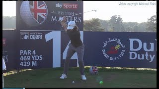 Tommy Fleetwood golf swing - long Iron (face-on), Sky Sports British Masters, October 2018.