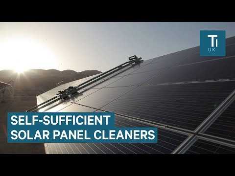 These automated machines clean solar panels without water