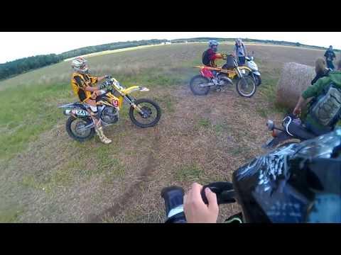 DERBI SENDA - Track on a field - Fun - Stunt - Onboard (KTM,Yamaha,Suzuki)