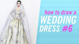 HOW TO DRAW A WEDDING DRESS #6 | Fashion Drawing