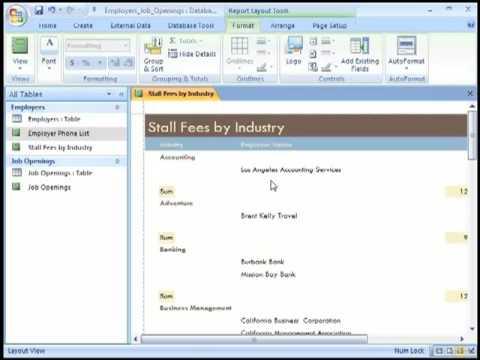 Microsoft Access 2007 Report Tutorial - YouTube