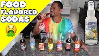 TRYING WEIRD FOOD FLAVORED SODAS | Taste Test | Alonzo Lerone