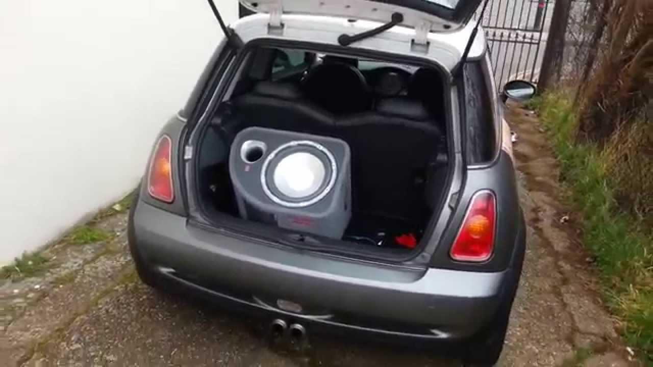 mini cooper s r53 subwoofer car audio install [ 1280 x 720 Pixel ]