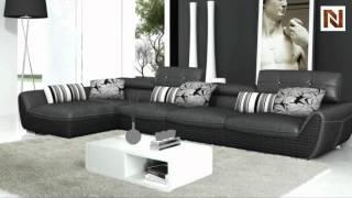Modern Black Leather Sectional Sofa VGYIT186