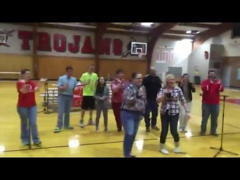 Teachers Do A Duet Together Singing East Tipp Middle School 2016