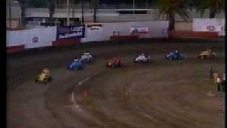 Kara Hendrick drives in a USAC Western States Midget race in 1990