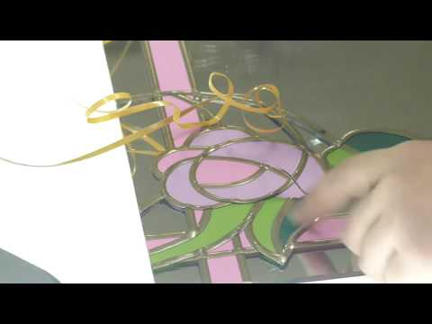 Пленочный (накладной) витраж на зеркале. Видеоуроки по изготовлению накладных витражей.
