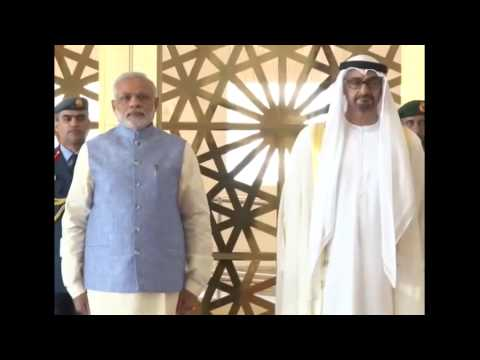 PM Modi arrives in Abu Dhabi to a ceremonial welcome