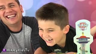 Paw Patrol Game! PUP RACERS Family Fun Game Night + Ring Pops HobbyKidsTV