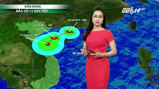 VTC14 | Thời tiết 6h 16/10/2017 | Bão số 11 bắt đầu quá trình suy yếu khi đi vào Vịnh Bắc Bộ