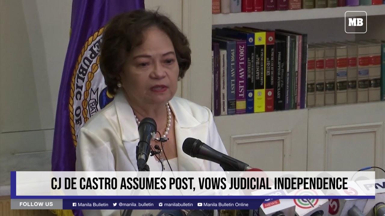 CJ De Castro assumes post, vows judicial independence