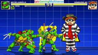 Teenage Mutant Ninja Turtles And SpongeBob SquarePants VS Hamburglar In A MUGEN Match / Battle