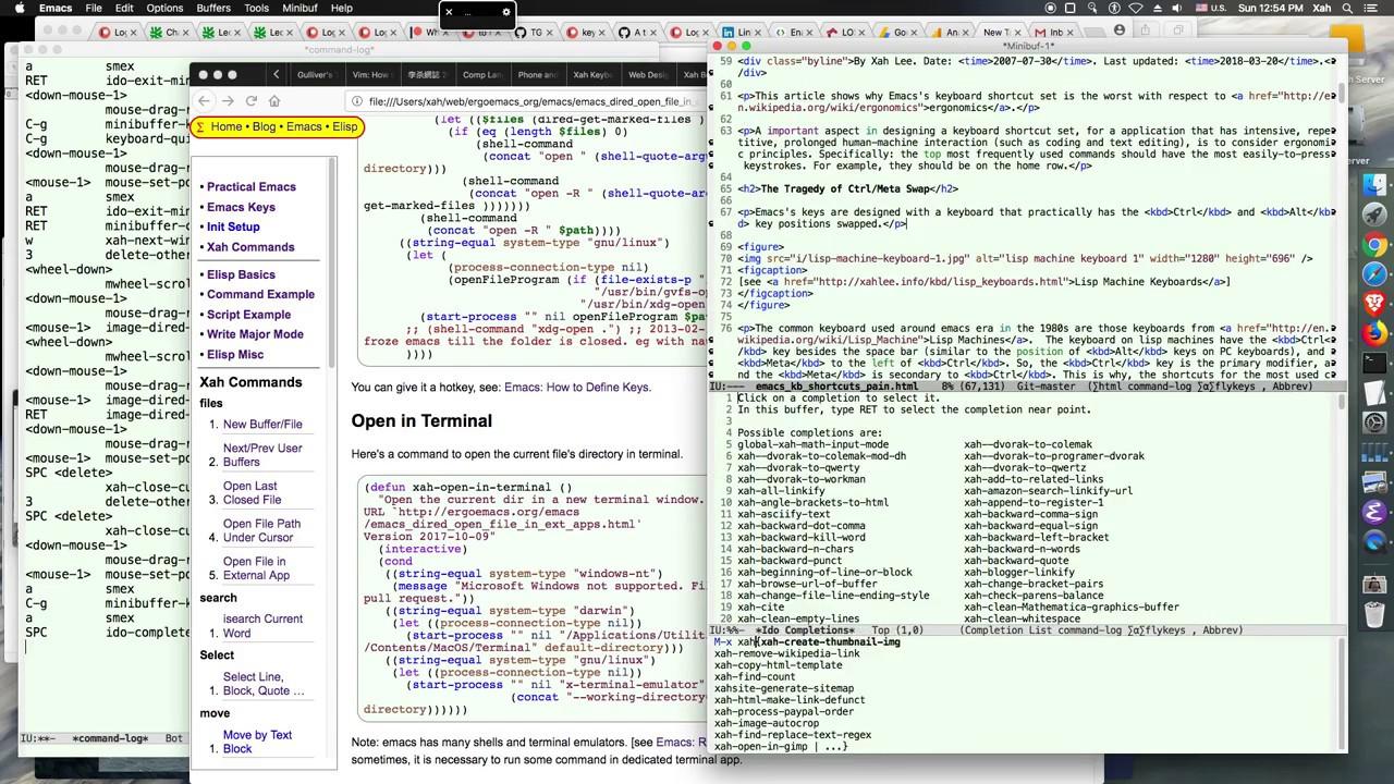 xah emacs commands tutorial