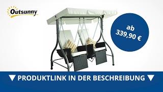 Outsunny 2-Sitzer Polyrattan Hollywoodschaukel mit Liegefunktion und Sonnendach  - direkt kaufen!