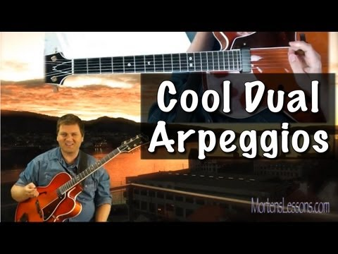 Learn Jazzy Dual Arpeggios jazz guitar lesson Tritone Subs and altered sound.
