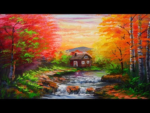 Acrylic Landscape Painting Tutorial Autumn Forest with River and House | PAINTING FOR BEGINNERS